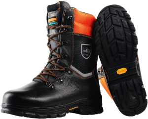 WOODSafe Chainsaw Protective Leather Boots, Class 1, KWF (CE Approved) - Forestry Boots Men Black/Orange