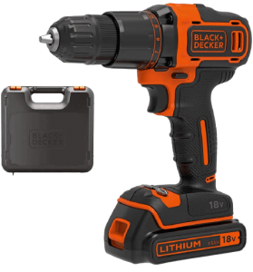 BLACK+DECKER_18_V_Cordless_2-Gear_Combi_Hammer_Drill_Power_Tool_with_Kitbox__1.5_Ah_Lithium-Ion__BCD700S1K_GB
